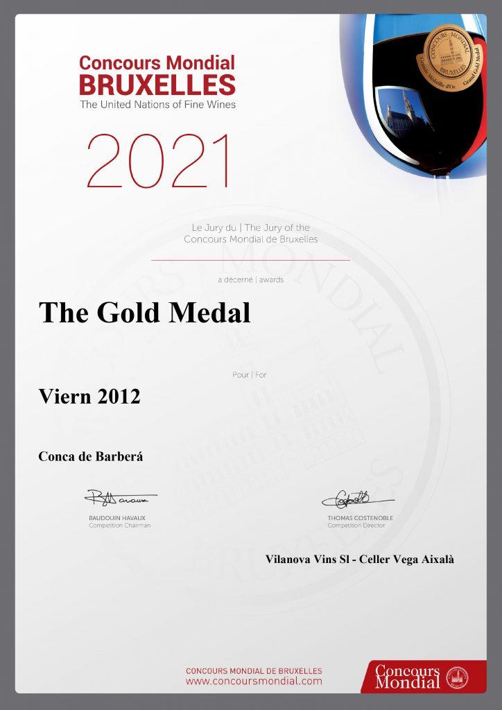 Viern 2012, Gold Medal en Concours Mondial de Bruxelles 2021